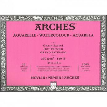 Профессиональная акварельная бумага ARCHES. 100% хлопок. Склейка 20 листов. 46X61 см. Satin - Hot pressed (гладкая). 300 gsm