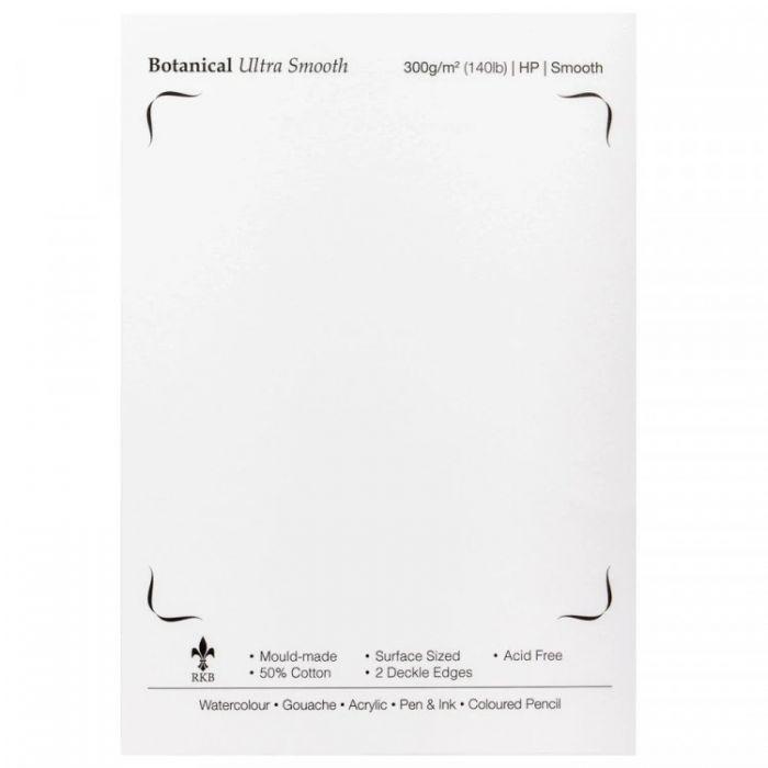 Профессиональная акварельная бумага St Cuthberts. 300 г/м, ботаническая, фактура ультра гладкая, ультра белая, Hot Pressed. Образец, на 1 заказ.
