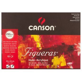 Профессиональная бумага для акрила и масла Canson Figuera  : 24х33см, 290 г/м, склейка 10 листов.