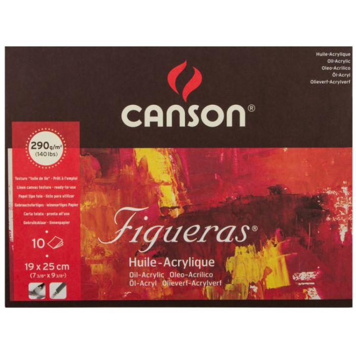 Профессиональная бумага для акрила и масла Canson Figuera  : 19х25см, 290 г/м, склейка 10 листов.