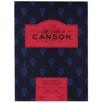Бумага для акварели Canson Heritage - склейка 23 x 31 см. 100% хлопок, Hot Press 300 гр. 12 листов