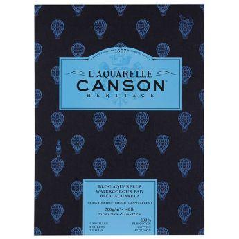 Бумага для акварели Canson Heritage - склейка 23 x 31 см. 100% хлопок, Rough 300 гр. 12 листов