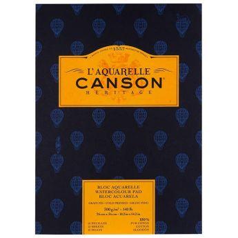 Бумага для акварели Canson Heritage - склейка 26 x 36 см. 100% хлопок, Cold Pressed 300 гр. 12 листов