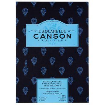 Бумага для акварели Canson Heritage - склейка 26 x 36 см. 100% хлопок, Rough 300 гр. 12 листов