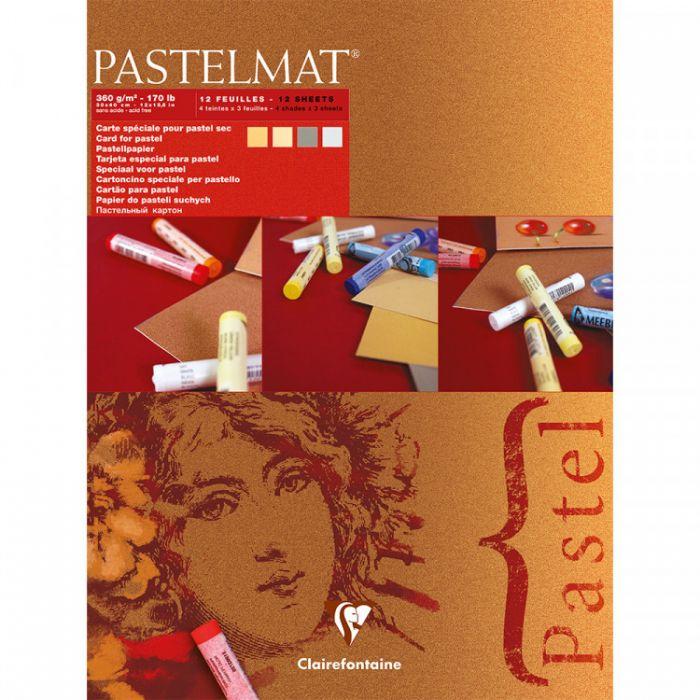 Профессиональная бумага для пастели Clairefontaine : Pastelmat. 18х24см, 360 г/м, 12л. Красная упаковка.