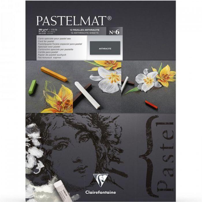 Профессиональная бумага для пастели Clairefontaine : Pastelmat. 24х30 см, 360 г/м, 12л. Антрацитовая марка №6