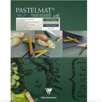 Профессиональная бумага для пастели Clairefontaine : Pastelmat. 18х24 см, 360 г/м, 12л. Зеленая марка №5