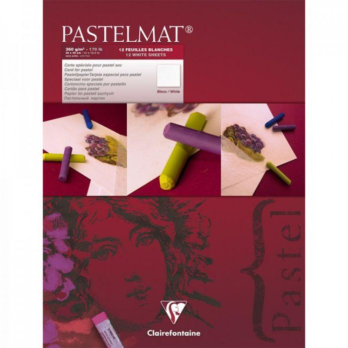 Профессиональная бумага для пастели Clairefontaine : Pastelmat. 30х40 см, 360 г/м, 12л. Белая марка №3