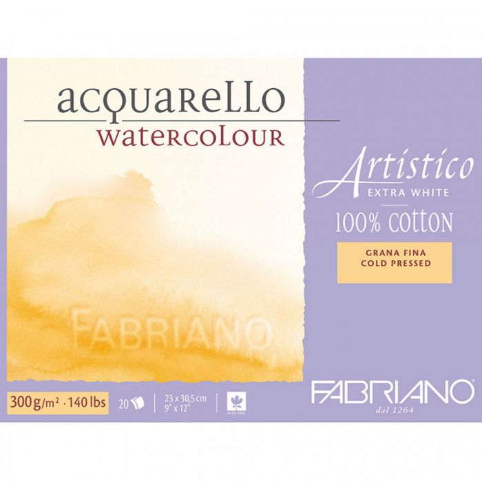 Бумага Fabriano Artistico 300 gsm. 100% хлопок. Склейка 20 листов 23X31 см. Medium / Cold Pressed / Not. Extra White
