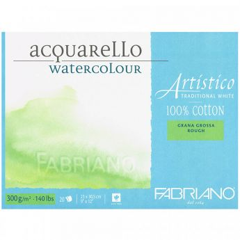 Бумага Fabriano Artistico 300 gsm. 100% хлопок. Склейка 20 листов 23X31 см. Rough. Traditional White