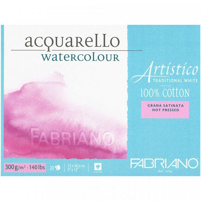 Бумага Fabriano Artistico 300 gsm. 100% хлопок. Склейка 20 листов 23X31 см. Smooth / Hot Press. Traditional white