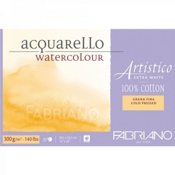 Бумага Fabriano Artistico 300 gsm. 100% хлопок. Склейка 20 листов 30X45 см. Medium / Cold Pressed / Not. Extra White