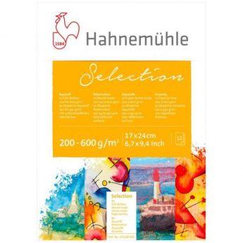 Склейка бумаги для акварели Hahnemuhle Selection 17х24, 12 листов, 200-600 г.