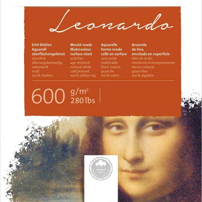 Бумага для акварели Hahnemuhle Leonardo. Склейка 36x48 см. Hot Press (гладкая) 600 г. 100% хлопок