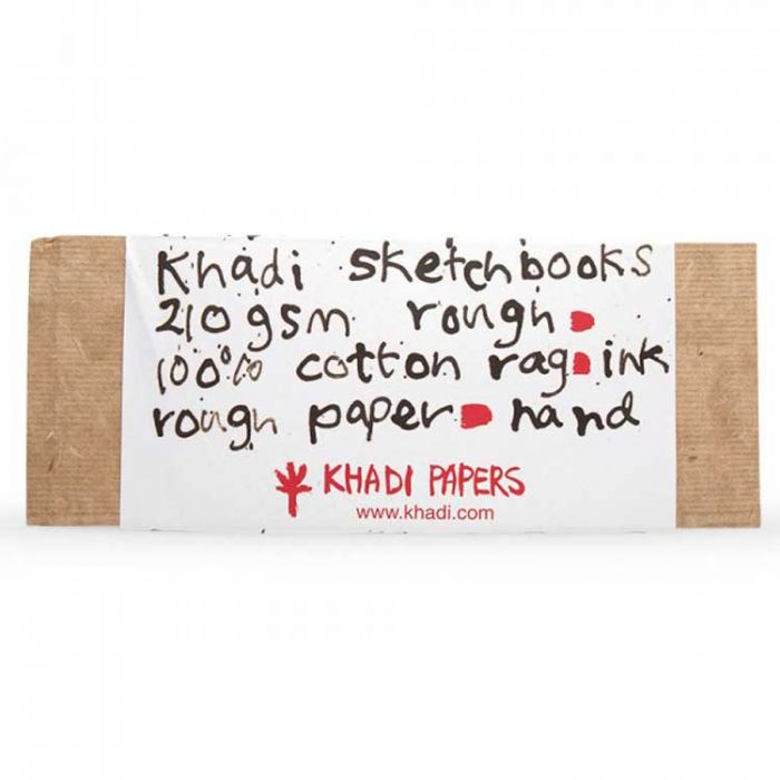 Скетчбук ручной работы KHADI в твердой обложке. Бумага 100% хлопок ROUGH 210 гр. Размер 13х32 см. 32 страницы.