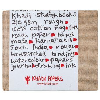 Скетчбук ручной работы KHADI в твердой обложке. Бумага 100% хлопок ROUGH 210 гр. Размер 21х25см. 32 страницы.