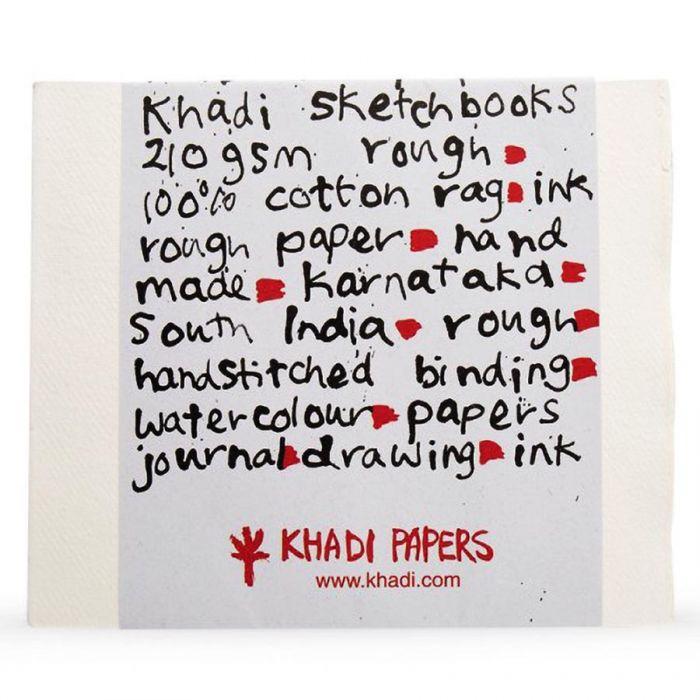 Скетчбук ручной работы KHADI в мягкой обложке. Бумага 100% хлопок ROUGH 210 гр. Размер 30х35 см. 40 страниц.