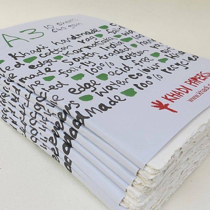 Набор акварельной бумаги KHADI. 100% хлопок Фактура ROUGH, 640 гр. Размер 30х42 см. 10 листов