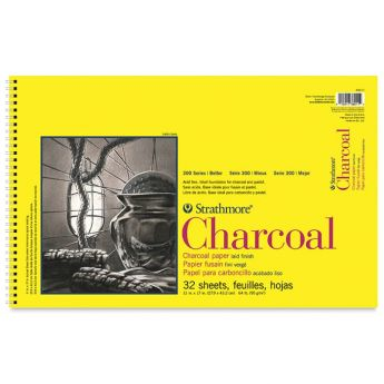 Strathmore бумага для угля - Charcoal Pad, серия 300, 32 листа, 28 x 43 см, 95 г/м, на спирали