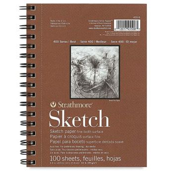 Strathmore бумага для скетчей - Sketch Pad, серия 400, фактура Fine Tooth, 100 листов, 14 x 21 см, 89 г/м (на спирали)