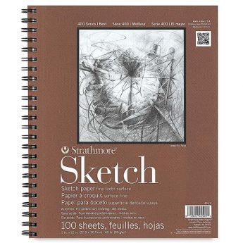 Strathmore бумага для скетчей - Sketch Pad, серия 400, фактура Fine Tooth, 100 листов, 23 x 31 см, 89 г/м (на спирали)