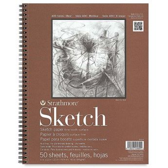 Strathmore бумага для скетчей - Sketch Pad, серия 400, фактура Fine Tooth, 50 листов, 23 x 31 см, 89 г/м (на спирали)