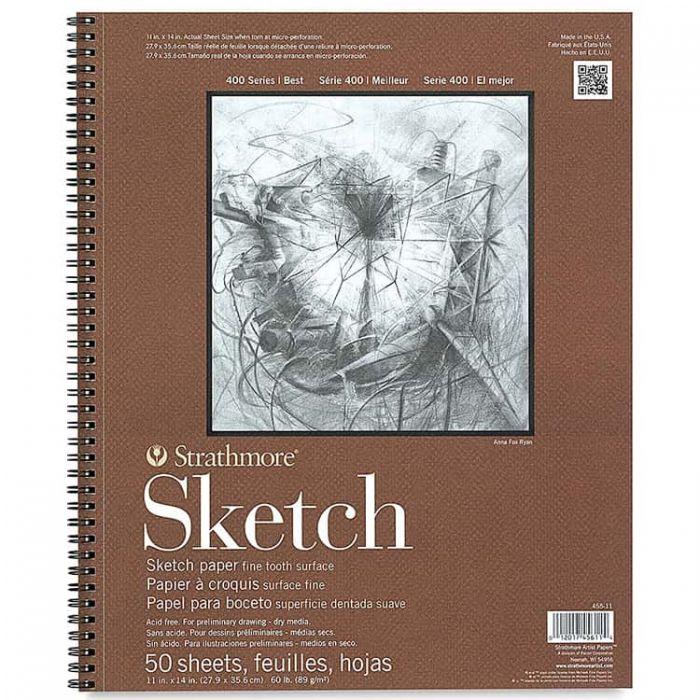 Strathmore бумага для скетчей - Sketch Pad, серия 400, фактура Fine Tooth, 50 листов, 28 x 36 см, 89 г/м (на спирали)