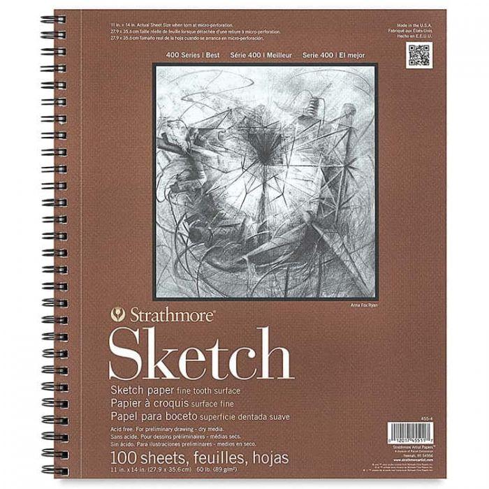 Strathmore бумага для скетчей - Sketch Pad, серия 400, фактура Fine Tooth, 100 листов, 28 x 36 см, 89 г/м (на спирали)