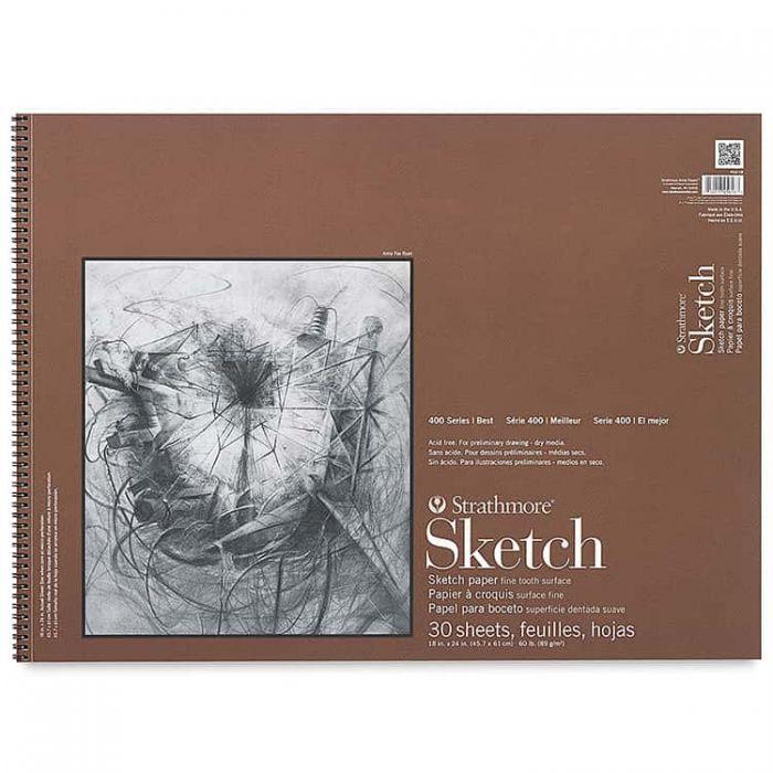 Strathmore бумага для скетчей - Sketch Pad, серия 400, фактура Fine Tooth, 30 листов, 46 x 61 см, 89 г/м (на спирали)