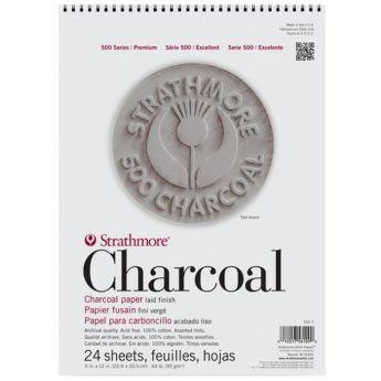 Strathmore бумага для угля - Charcoal Pad, серия 500, 24 листа, 23 x 31 см, 95 г/м, цвет ассорти, на спирали