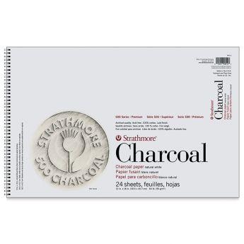 Strathmore бумага для угля - Charcoal Pad, серия 500, 24 листа, 31 x 46 см, 95 г/м, цвет белый, на спирали