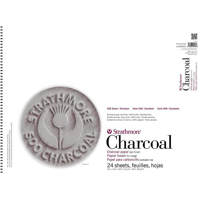 Strathmore бумага для угля - Charcoal Pad, серия 500, 24 листа, 46 x 61 см, 95 г/м, цвет ассорти, на спирали