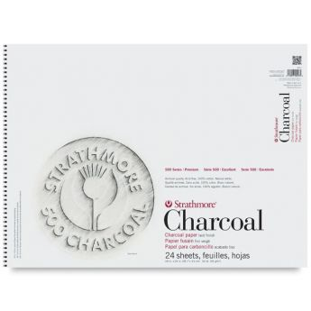 Strathmore бумага для угля - Charcoal Pad, серия 500, 24 листа, 46 x 61 см, 95 г/м, цвет белый, на спирали