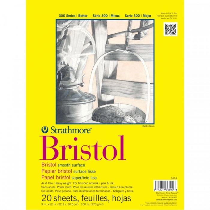 Профессиональная бумага для графики Strathmore BRISTOL серия 300: склейка 23 x 31 см, 270 г/м, Smooth, 20 листов
