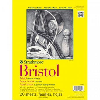 Профессиональная бумага для графики Strathmore BRISTOL серия 300: склейка 23 x 31 см, 270 г/м, Vellum, 20 листов