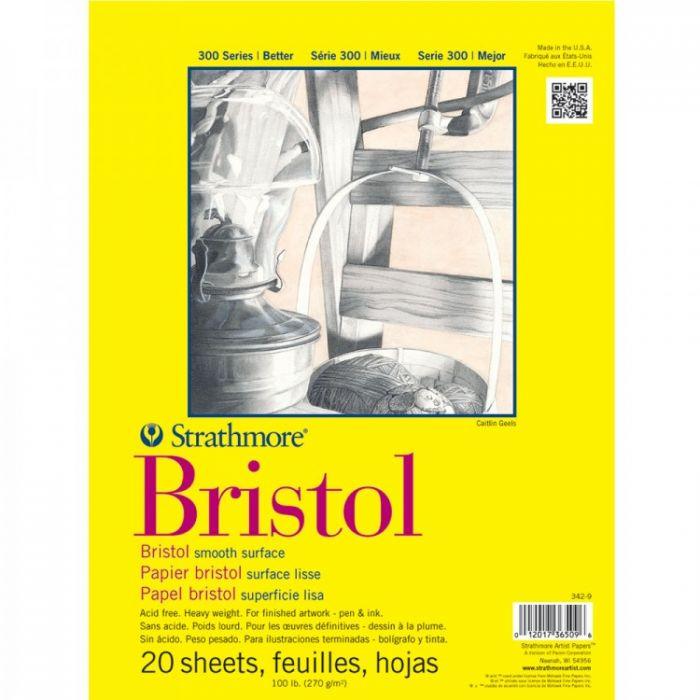 Профессиональная бумага для графики Strathmore BRISTOL серия 300: склейка 28 x 36 см, 270 г/м, Smooth, 20 листов