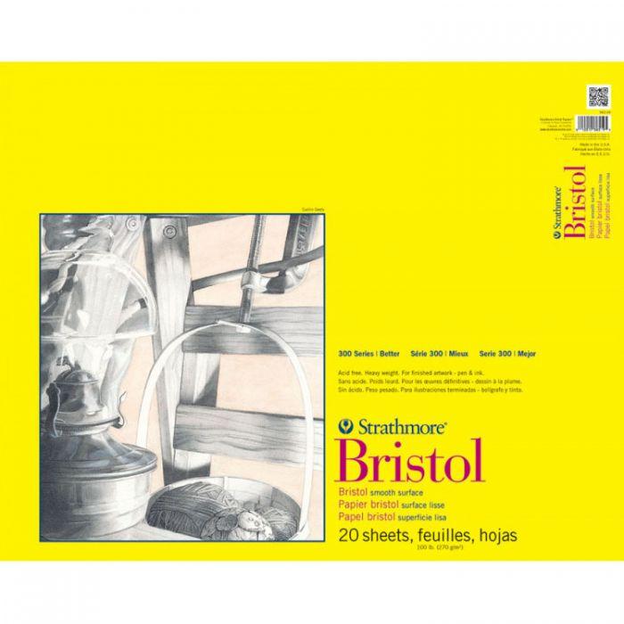 Профессиональная бумага для графики Strathmore BRISTOL серия 300: склейка 46 x 61 см, 270 г/м, Smooth, 20 листов