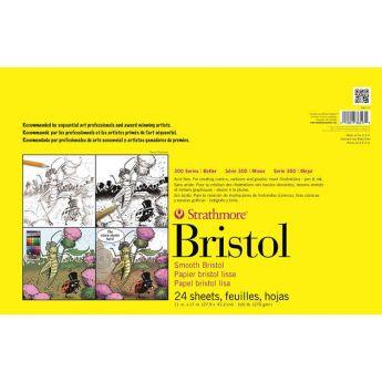 Профессиональная бумага для графики Strathmore Bristol 300 Series: склейка 28 x 43 см, 270 г/м, Smooth, 24 листа