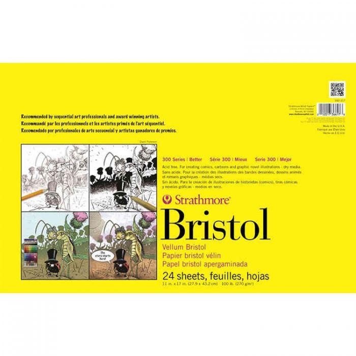 Профессиональная бумага для графики Strathmore Bristol 300 Series: склейка 28 x 43 см, 270 г/м, Vellum, 24 листа