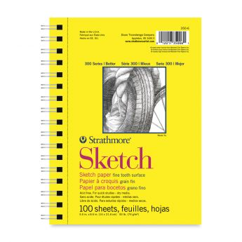 Strathmore бумага для скетчей - Sketch Pad, серия 300, medium, 100 листов, 14 x 21 см, 74 г/м (на спирали)