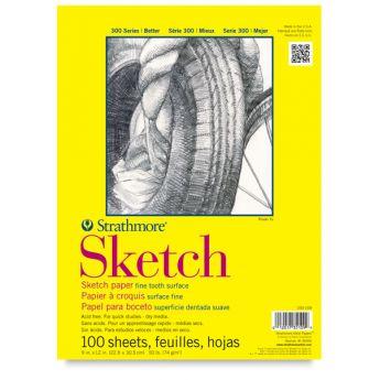 Strathmore бумага для скетчей - Sketch Pad, серия 300, medium, 100 листов, 23 x 31 см, 74 г/м (склейка)