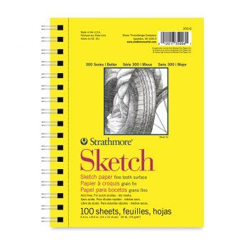 Strathmore бумага для скетчей - Sketch Pad, серия 300, medium, 100 листов, 23 x 31 см, 74 г/м (на спирали)