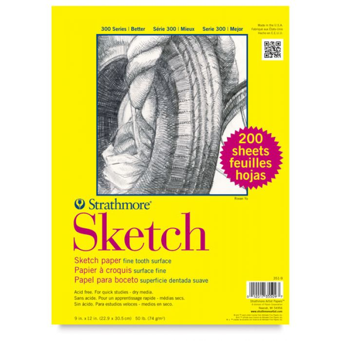 Strathmore бумага для скетчей - Sketch Pad, серия 300, medium, 200 листов, 23 x 31 см, 74 г/м