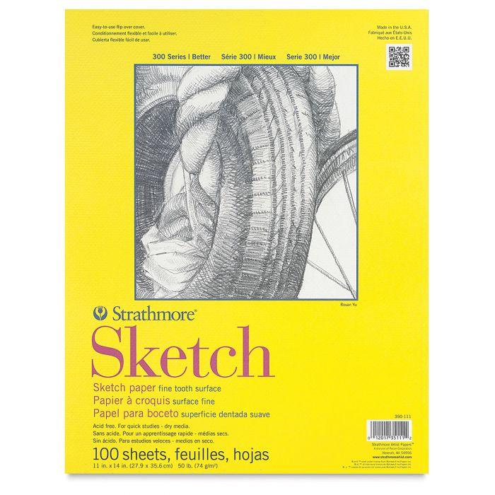 Strathmore бумага для скетчей - Sketch Pad, серия 300, medium, 100 листов, 28 x 36 см, 74 г/м (склейка)