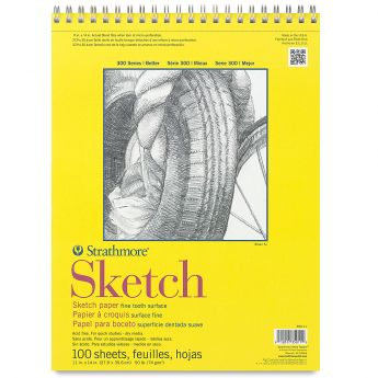 Strathmore бумага для скетчей - Sketch Pad, серия 300, medium, 100 листов, 28 x 36 см, 74 г/м (на спирали)