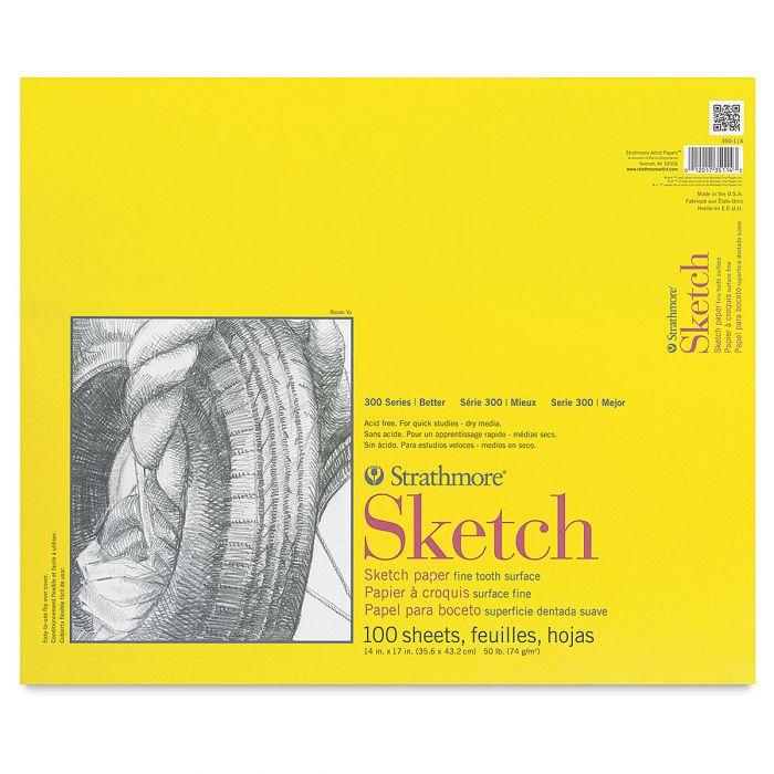 Strathmore бумага для скетчей - Sketch Pad, серия 300, medium, 100 листов, 36 x 43 см, 74 г/м (склейка)