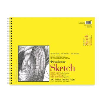 Strathmore бумага для скетчей - Sketch Pad, серия 300, medium, 100 листов, 36 x 43 см, 74 г/м (на спирали)