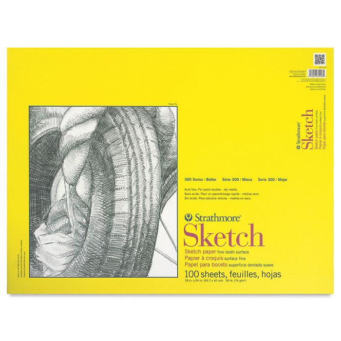 Strathmore бумага для скетчей - Sketch Pad, серия 300, medium, 100 листов, 46 x 61 см, 74 г/м (склейка)
