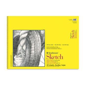 Strathmore бумага для скетчей - Sketch Pad, серия 300, medium, 30 листов, 46 x 61 см, 74 г/м (на спирали)