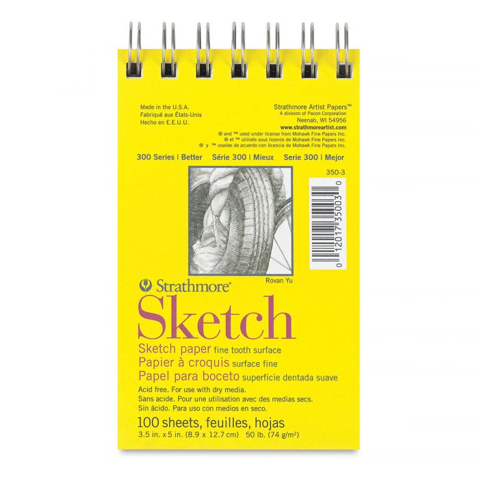 Strathmore бумага для скетчей - Sketch Pad, серия 300, medium, 100 листов, 9 x 13 см, 74 г/м (на спирали)